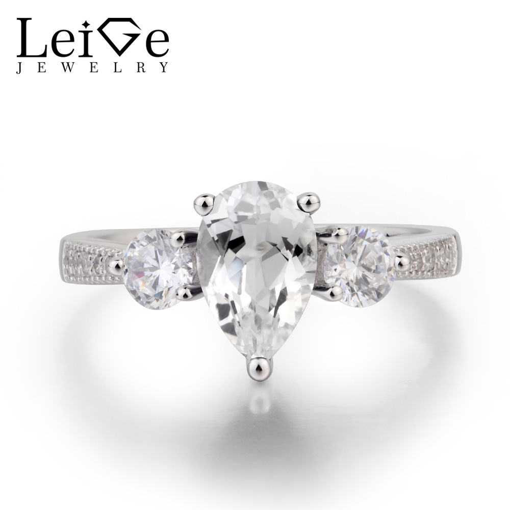 Natural white topaz ring pear shaped engagement ring silver gemstone ring