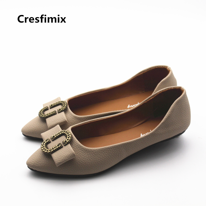 Cresfimix zapatos de mujer women leisure pointed toe spring flat shoes lady cute comfortable summer slip on shoes fashion shoes cresfimix zapatos de mujer women fashion pu leather slip on flat shoes female soft and comfortable black loafers lady shoes