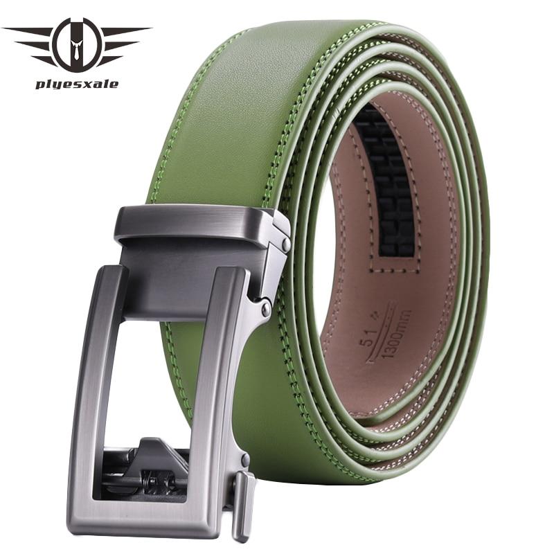 Brown Coffee Black Grass Green Men's Belt Automatic Ratchet Buckle Luxury Brand Genuine Leather Belt Men Ceinture Homme B64