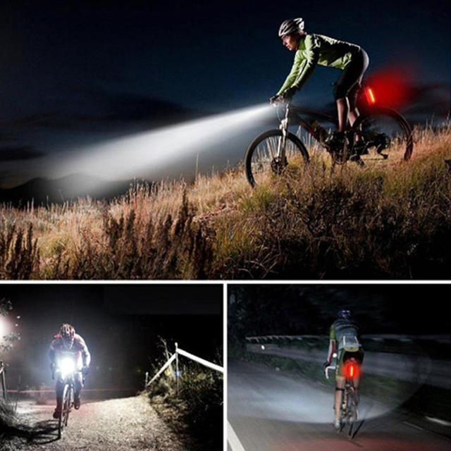 Bicycle Safety Front Rear Lights Combination T6 Charging Headlights Black Solar