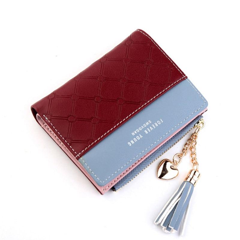 Leather Small Wallet Women Mini Women Wallets Purses Female Short Coin Zipper Purse Holder Tassel Zipper Button Bag (20)