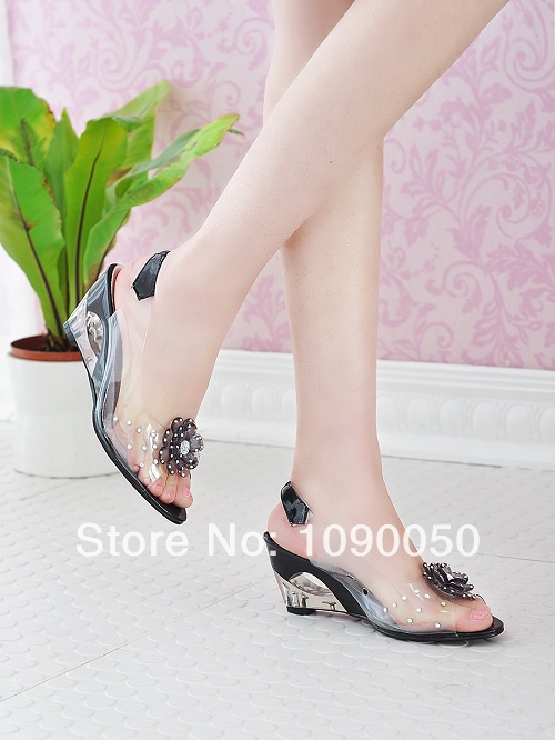 CDTS hot selling flowers diamond sexy women s summer shoes crystal wedges sandals small yards 30