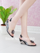 CDTS hot selling flowers diamond sexy women's summer shoes crystal wedges sandals small yards 30 31 32 33 34 plus size 41 42 43