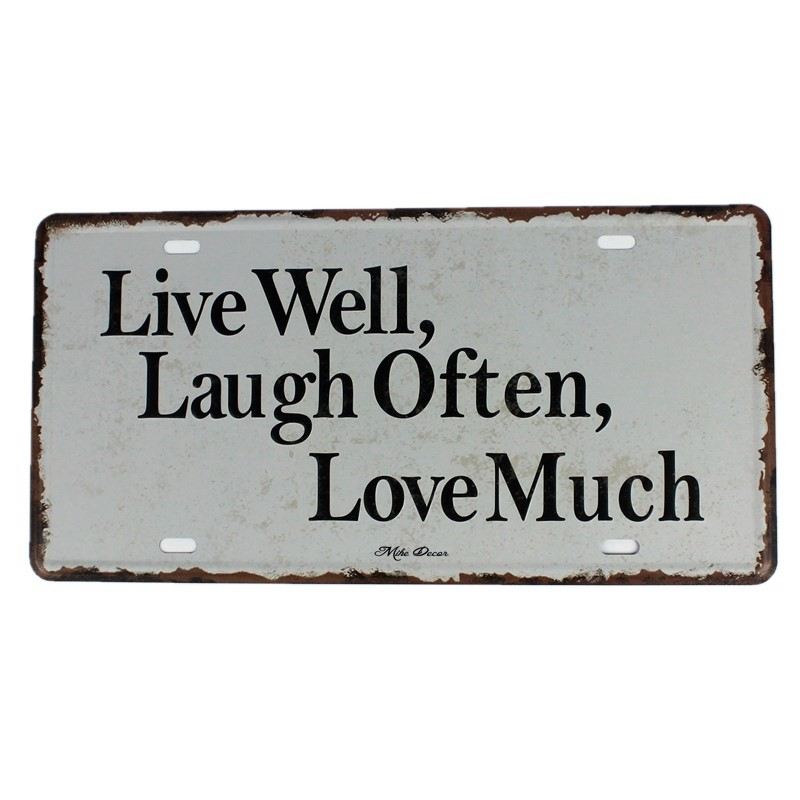 Live laugh Love автомобилей номерных Винтаж Олово Вход Бар паб дома Настенный декор из металла плакат