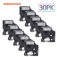 Absonic 30PCS 6mm Label Printer Refill Tape Compatible for DYMO D1 Printer 43613 Black on White for DYMO Label Ribbons Cassette