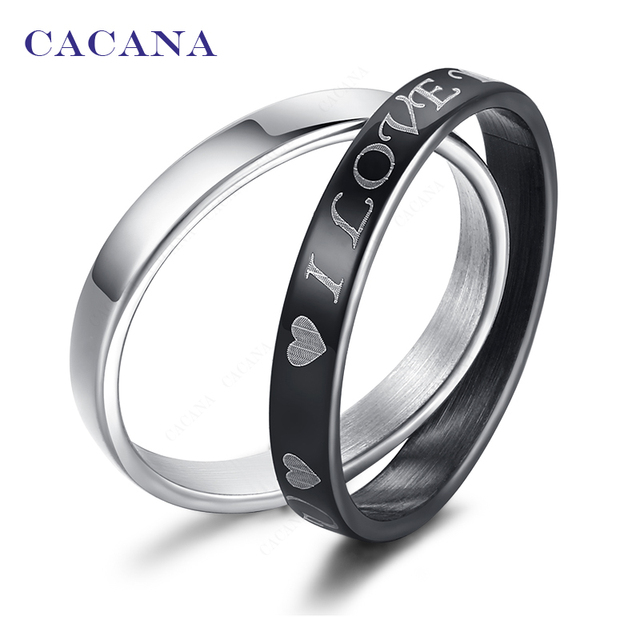 CACANA Titanium Stainless Steel Rings For Women Double Rings 1set(2pcs) Loving H