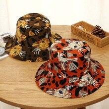 Women Bucket Hat Concise Casual Cartoon Pattern Cute Travel Folding Double Wear Sunscreen Bucket Hat