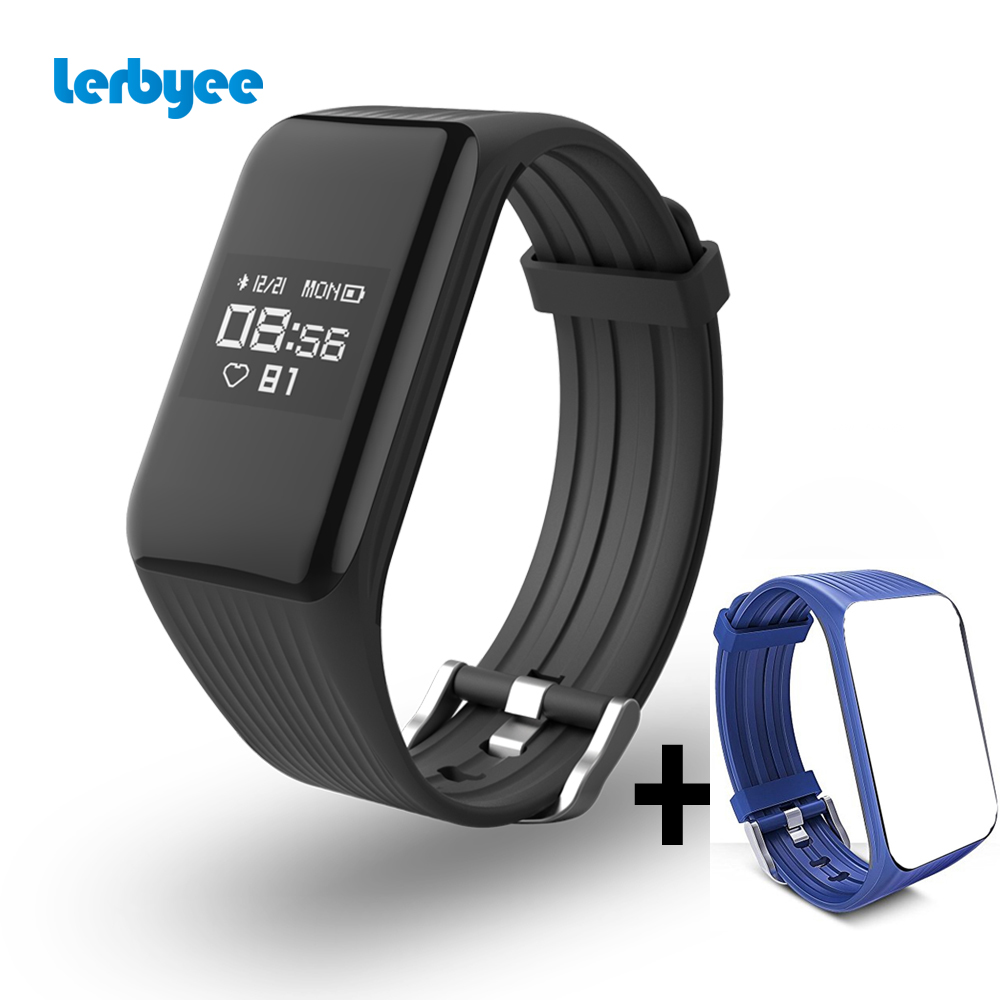 Lerbyee Fitness Tracker K1 pulsera inteligente en tiempo Real Monitor de ritmo cardíaco reloj inteligente rastreador de actividad para el deporte, iOS Android