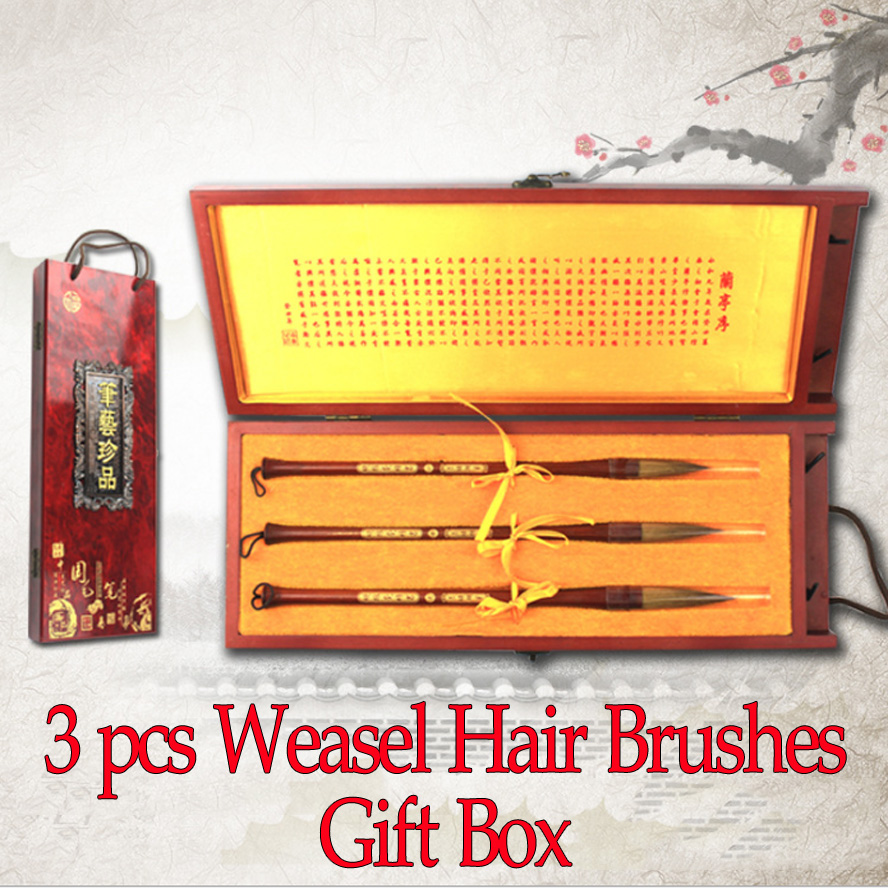 3 pcs/set Chinese Calligraphy Brushes Weasel hair brush for artist painting calligraphy Art supplies gift wooden box 3 pcs chinese calligraphy brushes weasel hair brushes pen for painting calligraphy artist supplies