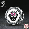 Voroco clássico 925 sterling silver bow knot minni caricatura encantos talão fit pandora pulseiras beads & jewelry making s381