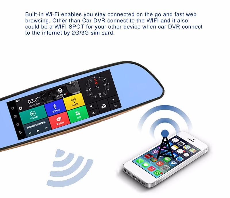 Free 32GB card+3G Car DVR+Android 5.0 Bluetooth GPS WIFI Dual lens rearview mirror camera+FHD1080P camara automovil Phisung H2 12
