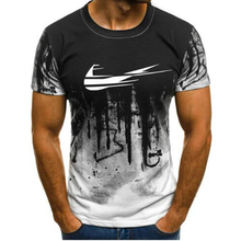 2019new fashion casual men's sports print short-sleeved camouflage T-shirt, summer personality printing men's T-shirt.