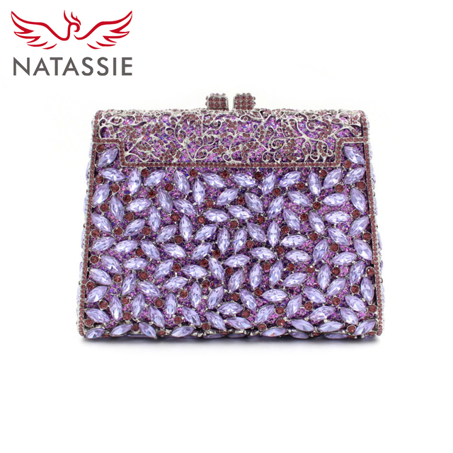 NATASSIE Women T Shape Luxury Crystal Clutch Handbag Diamonds Evening Bag Party Clutches Drop Shipping Silver Lavender LD101