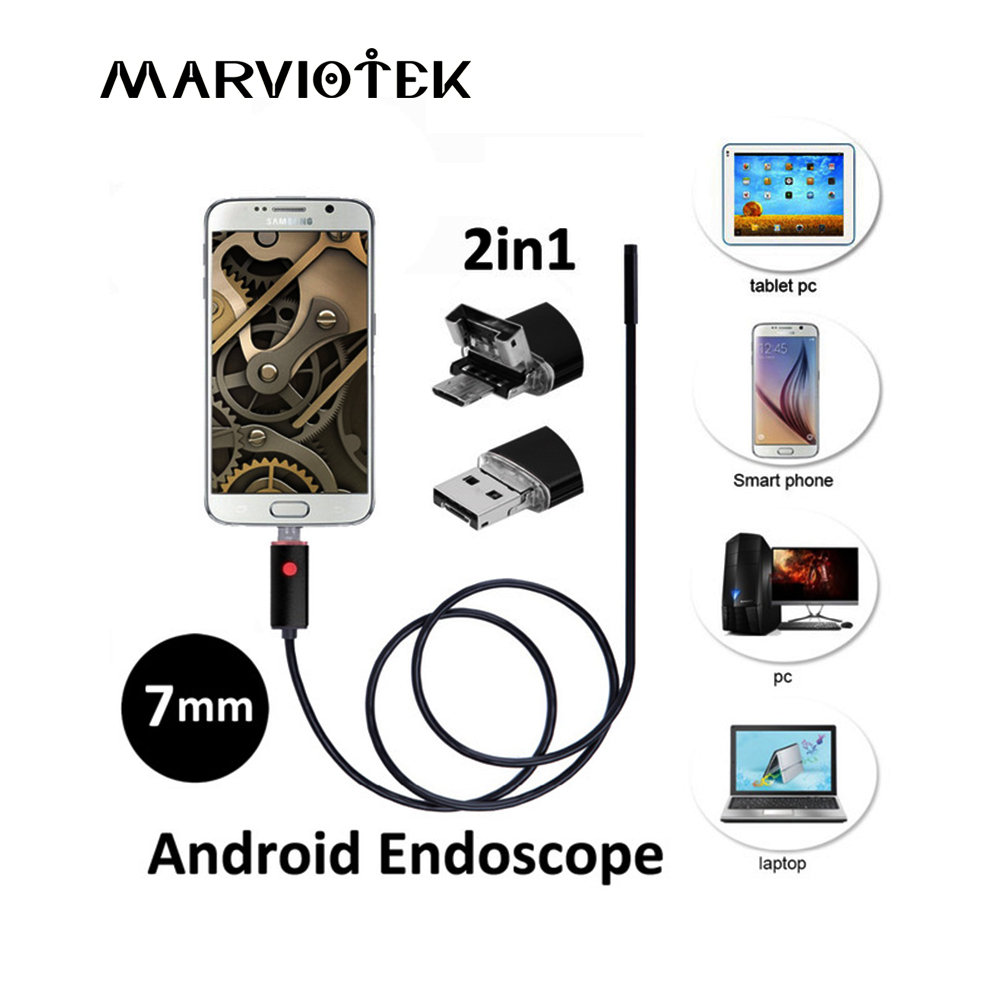 7 мм эндоскоп камера HD 2 в 1 USB Android эндоскоп Водонепроницаемый 6 LED бороскоп Инспекционная камера эндоскоп для Android ПК 1 м 2 м