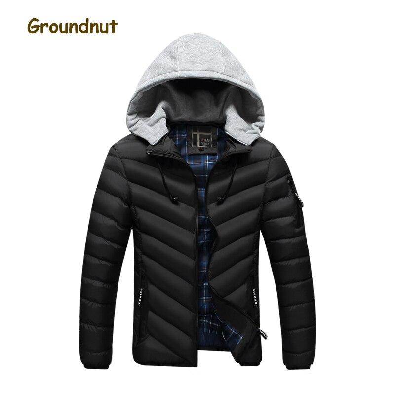 Arachide marque capuche amovible 2017 hiver Parka hommes vestes en coton thermocollant homme mode manteau chaud équipé d'écouteurs