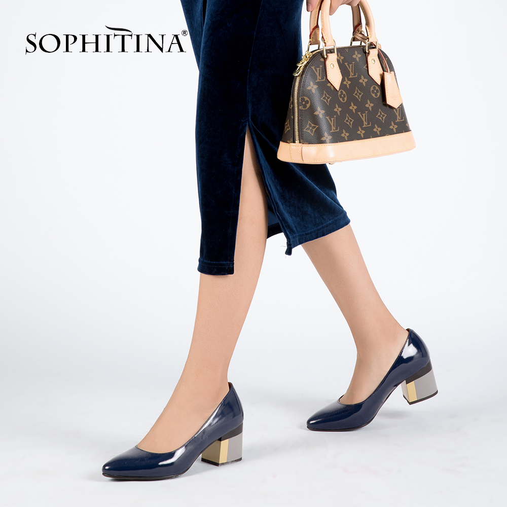 SOPHITINA Brand Shoes Thick Heel Ladies Pumps Patent Leather Pointed Toe Colorful Square Heels Party Handmade Shoes Women D13 sophitina women autumn pumps high quality patent leather sexy pointed toe thick heel pumps handmade party office lady shoes w13