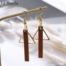 Natural Wood Drop Earrings for Women Fashion Statement Golden Strips Geometry Dangle Earring Ear Korean Girls Jewelry Gift(China)