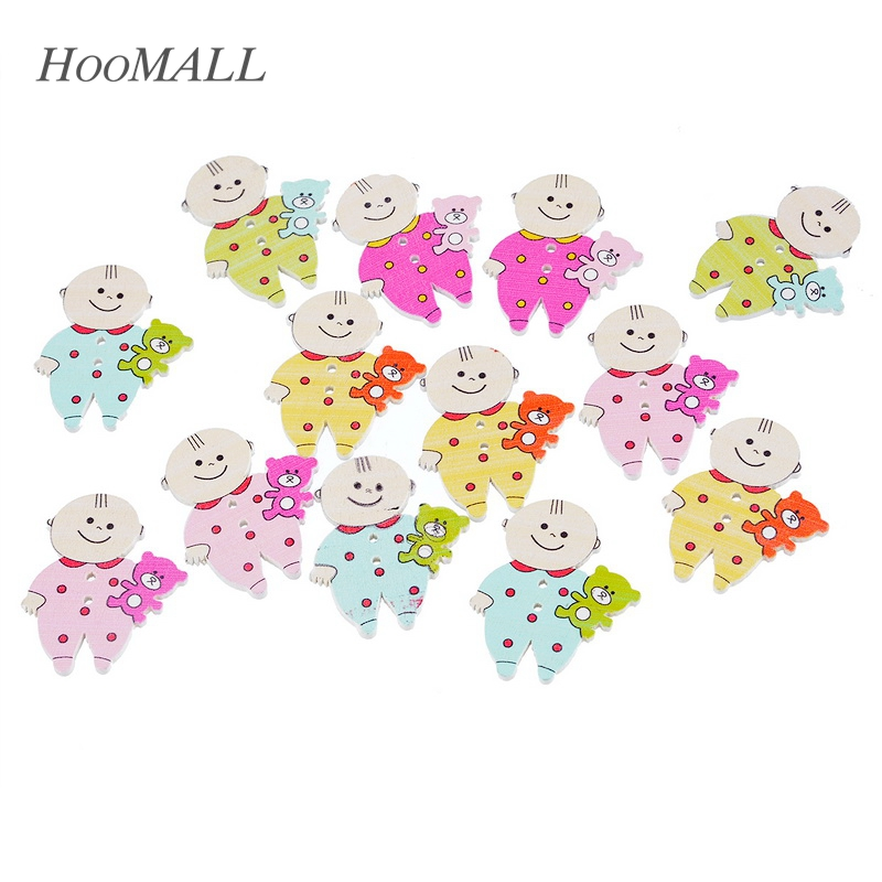 Hoomall Decorative Buttons 30PCs Multicolor Cute Baby Boy Shaped 2 Holes Wooden Buttons Fit Sewing DIY Scrapbook Random Mixed
