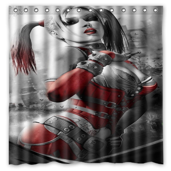 Sexy Harley Quinn Printed Waterproof Polyester Bath Shower Curtain 180X180CM