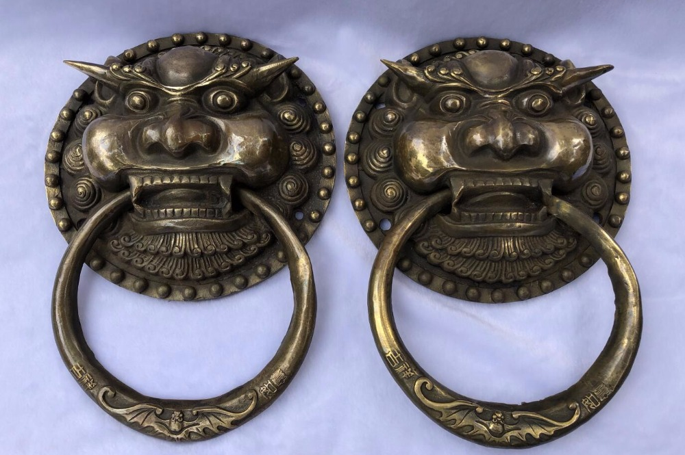 Exquisite pure copper bronze antique crafts tiger head brass door knocker / pair (oversized)