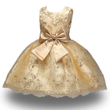 New Princess dress of Girl Kids embroidery Dress Flower Girl Toddler Elegant Dress Vestido Infantil Formal Party Dress Gold