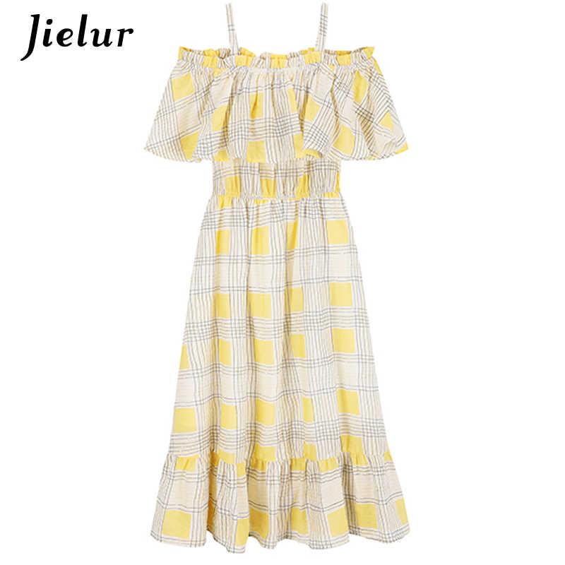 Jielur плед Slash шеи Для женщин платья оборками сладкие Летняя новинка; платье леди с высокой талией Мода Kpop Sukienka Femme платье 3 цвета