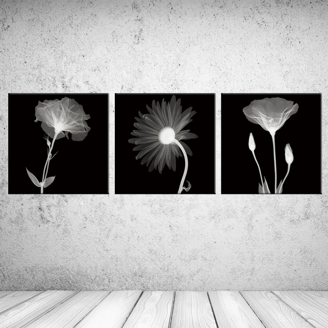 3PCS Black White Perspective Handmade Flowers Wall Vintage Oil Painting Prints On Canvas Landscape Pictures Home