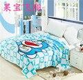 Бесплатная Доставка Детей Мультфильм Коралловый флис одеяла на кровати, Doraemon постельное белье, крышка бросок, Покрывало 150X200 СМ