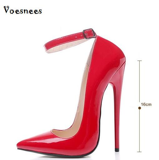 Women Shoes Pumps Sexy Word Buckle Super High Heel 14/16 cm Heel Big yards Shoes Patent Leather Pointed Shoes Large-size 35-45 шампунь barex smoothing shampoo magnolia