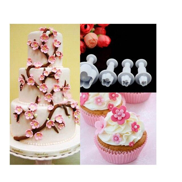 عدد 4 قطع/مجموعة قالب كبس لزهرة البرقوق أداة تقطيع عجينة السكر أدوات تزيين كعك الكريسماس