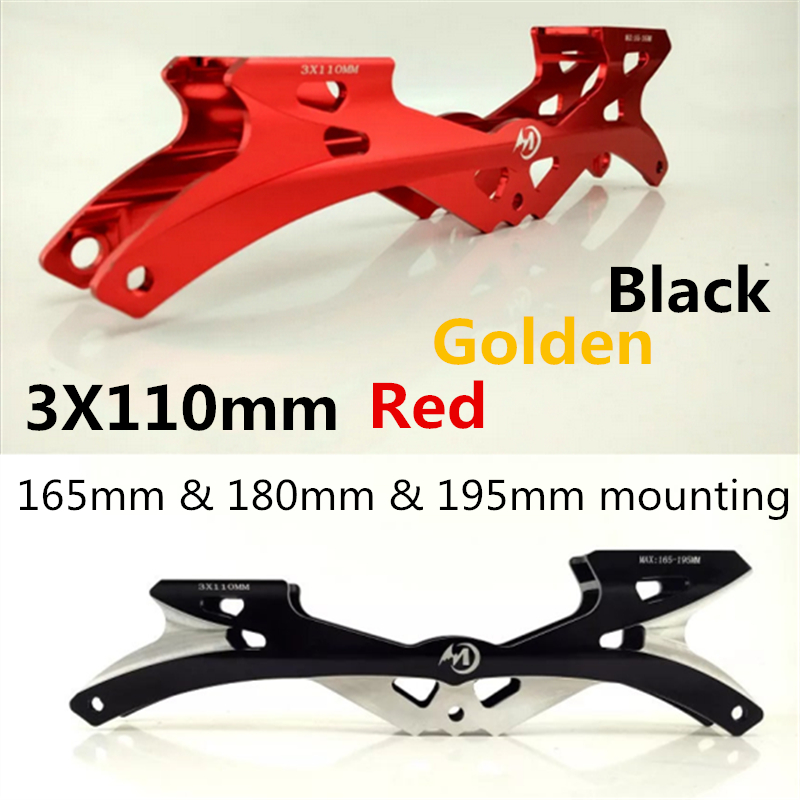 Single Rockered Inline Speed Skates Frame 3X110mm 110mm Banana Skating Base 165 195mm Adult Flexible Racing Black Golden Red CNC flying eagle inline speed skates frame super sonic 3x110mm 165mm mounting track racing skating base supersonic for fe mpc 9 8