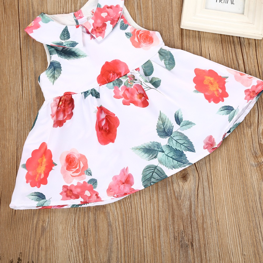 new flowers adornment butterfly knot girl princess dress Baby girl clothes 2018 new summer dress