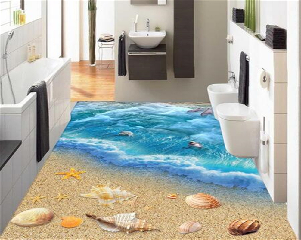 Buy beibehang fantastic three dimensional - Waterproof floor paint for bathrooms ...