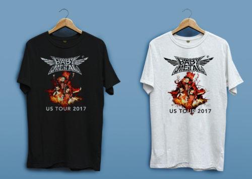 Graphic Shirts Crew Neck Short-Sleeve Fashion 2018 Mens Baby Metal Us Tour 2017 Rock Black White Tees