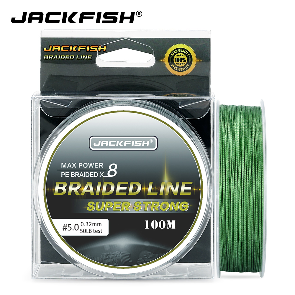 JACKFISH 100m 8 Strand PE Braided Fishing Line 10-80LB Multifilament Fishing Lines For Carp Fishing Tackle Saltwater Fishing