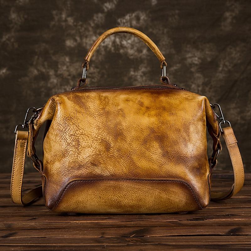 Women Tote Genuine Leather Bag Shoulder Handbag Vintage Cowhide Brush Color Multi Capacity Messenger Top Handle