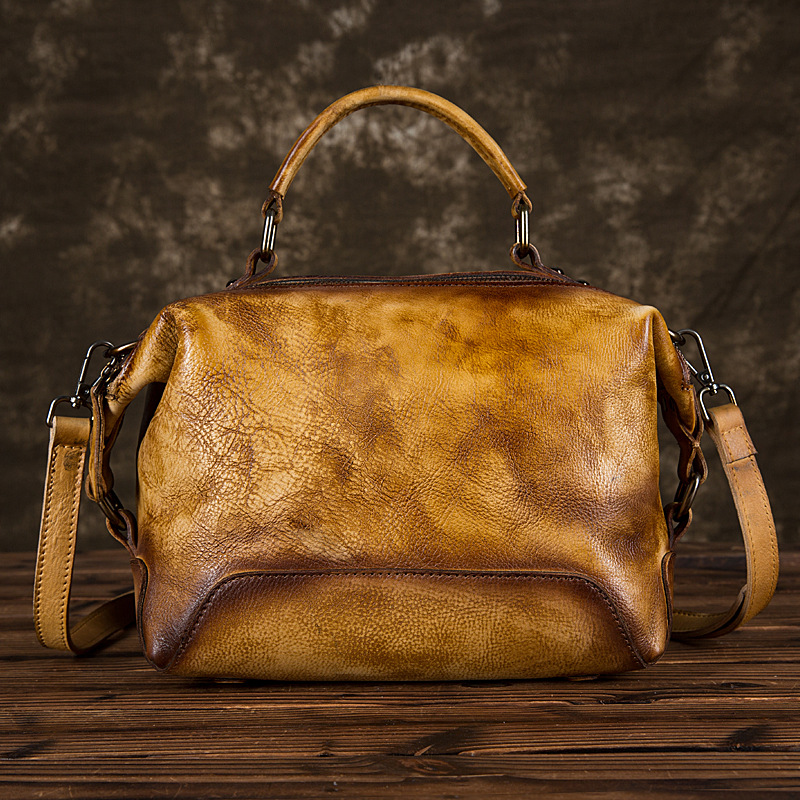 Women Tote Genuine Leather Bag Shoulder Handbag Vintage Cowhide Brush Color Multi-Capacity Messenger Top Handle Cross Body Bags