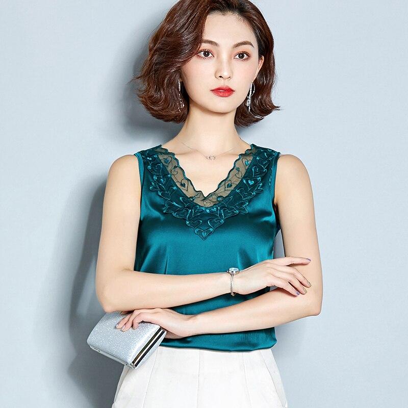 Summer Tops White Satin Lace Female Plus-Size Women's Sleeveless Silk for V-Neck