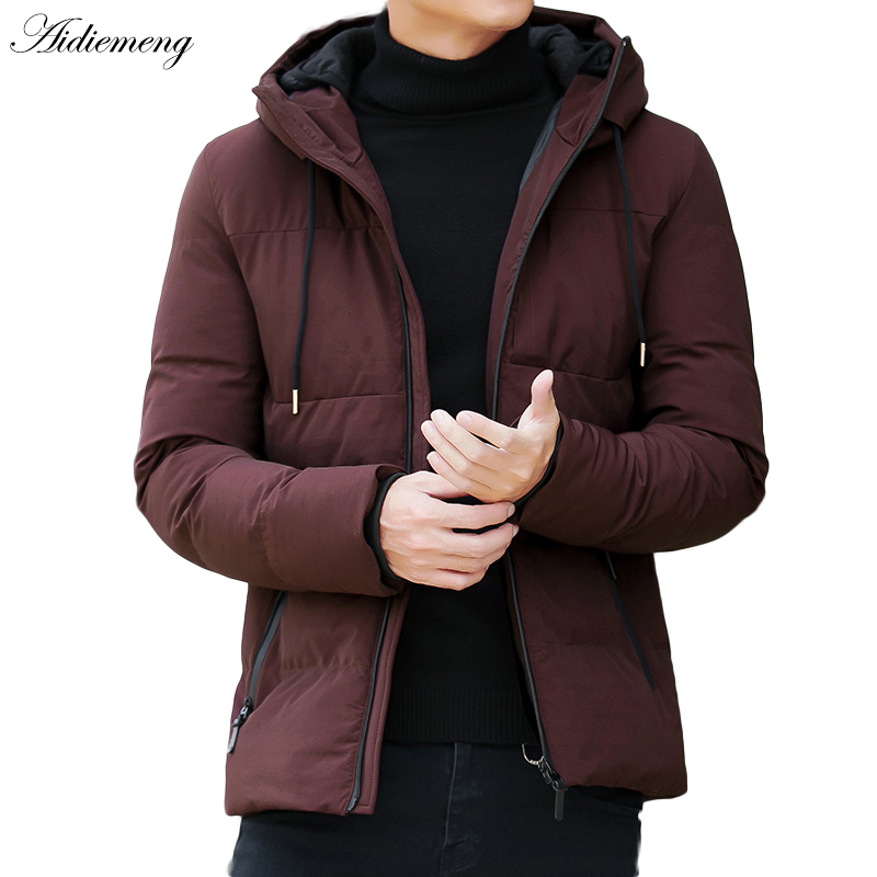 Зимняя куртка Для мужчин парка модная куртка с капюшоном Тонкий хлопок теплый жакет Для мужчин одноцветное Colo толстые Парка на пуху мужские...