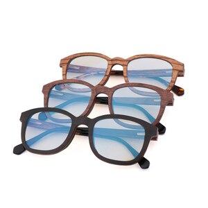Image 5 - جديد ريترو ساندويتش الخشب نظارات الرجال اليدوية بحتة موضة الأزرق عدسات إضاءة واقية من الإشعاع النظارات الشمسية استبدال عدسة