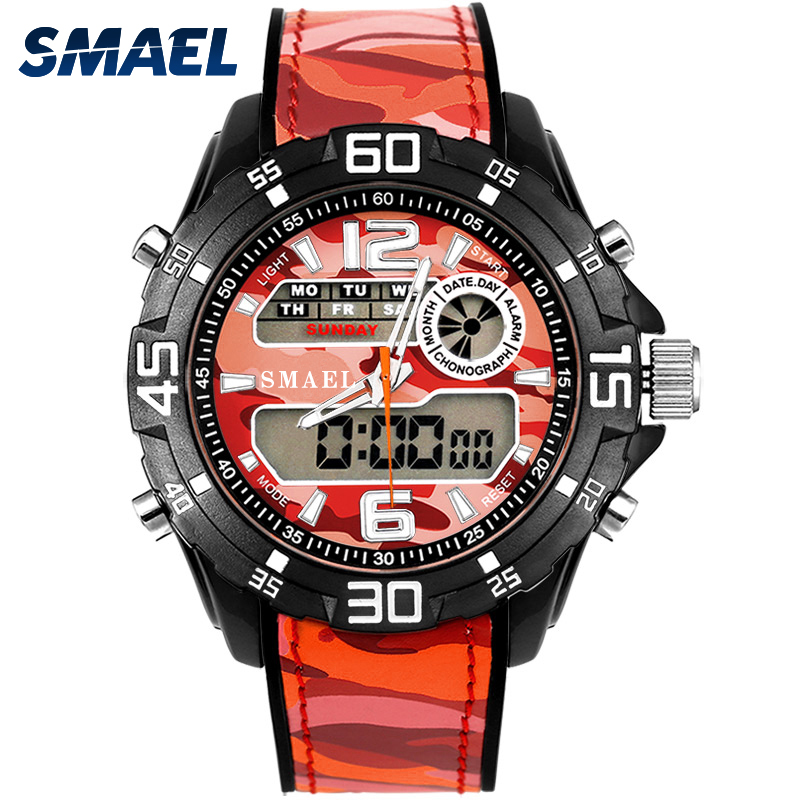 SMAEL Fashion Men Wristwatches Waterproof Men Sports Outdoor Digital LED Light Watch 1077 Clock Man Luxury Sport Watches Alarm pedometer heart rate monitor calories counter led digital sports watch fitness for men women outdoor military wristwatches