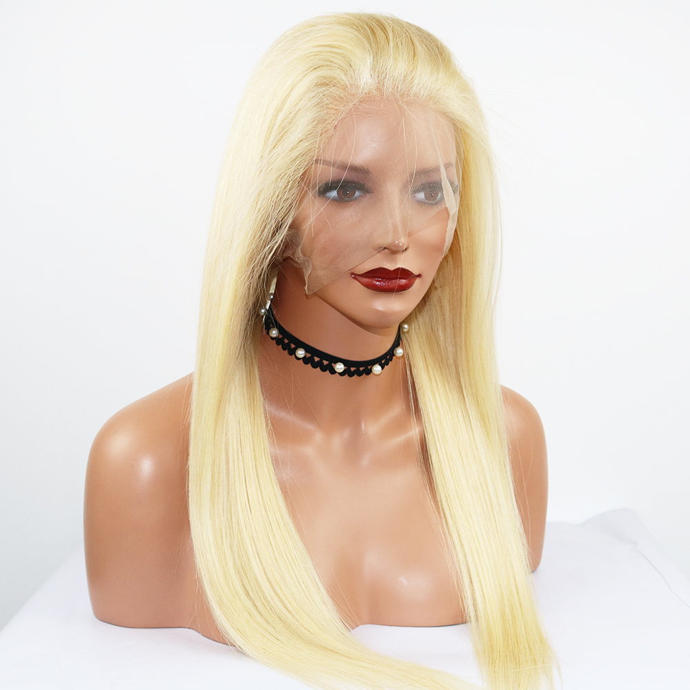 Simbeauty 613 Blonde Brazilian Silky Straight Human Hair 360 Lace Frontal Wig 100% Virgin Hair Pre Plucked 360 Lace Wigs image