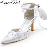 Người phụ nữ Wedding Bridal Shoes Trắng Ngà Cao heel Toe Chóp Dây Đeo mắt cá chân Ribbon Tie Stain Cô Dâu Phù Dâu Prom đảng Bơm A0563
