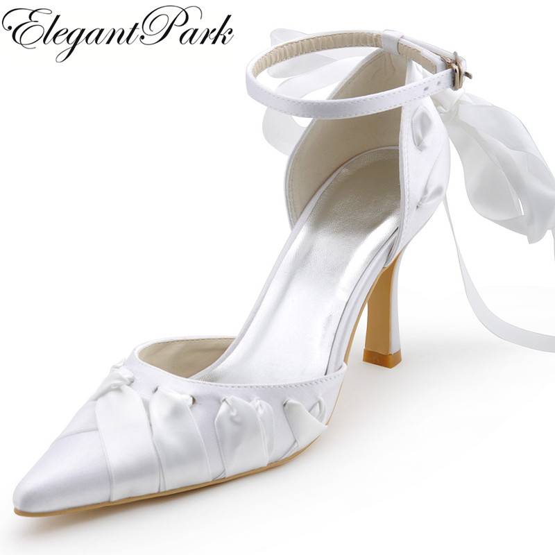 Woman Wedding Bridal Shoes White Ivory High heel Pointy Toe Ankle Strap Ribbon Tie Stain Bride Bridesmaid Prom party Pumps A0563
