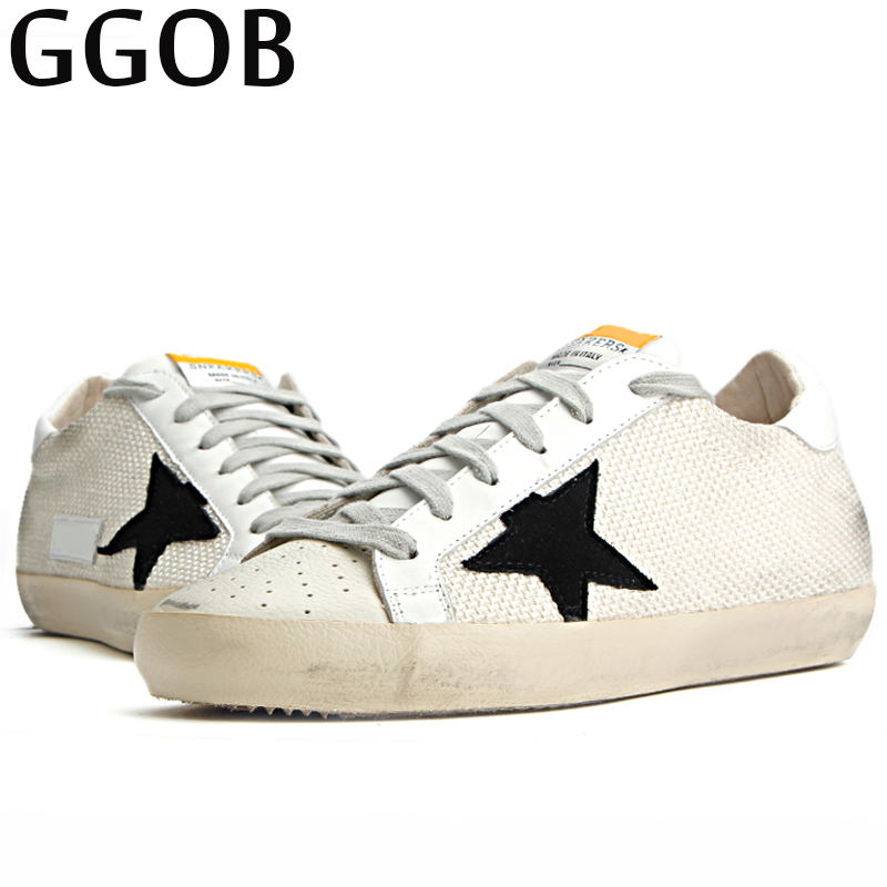GGOB 2018 New Flat shoes Canvas Walking Do old Dirty Vintage Genuine Leather Woman Brand Casual Shoes Cowhide Lace-up Canvas woman burst leather casual shoes golden star women do old dirty shoes female lace up distressed leather vintage flat shoes