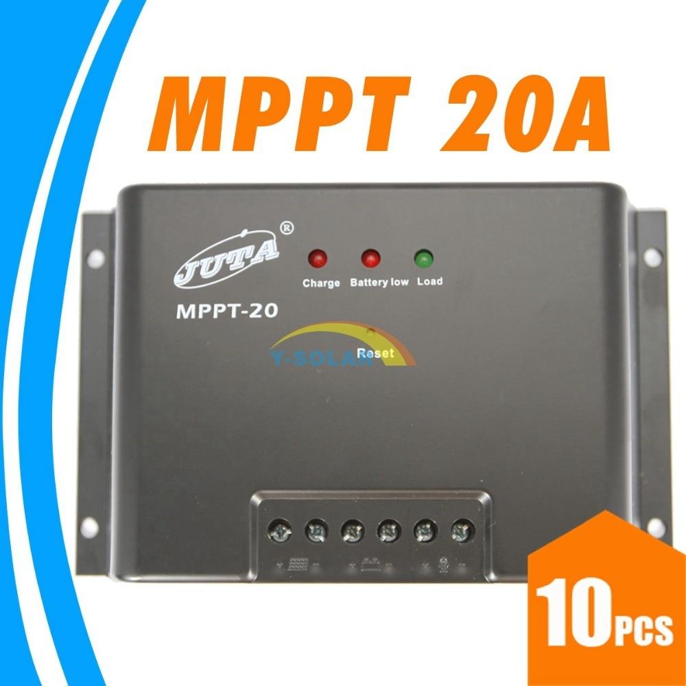 10pcs Juta MPPT 20A Solar Charge Controller 12V 24V Auto Switch LED Indicate MPPT-20 Battery Charger Regulator High Quality NEW