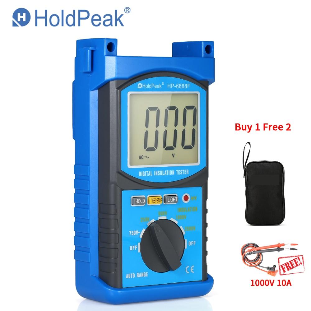 HoldPeak HP-6688F Insulation Resistance Tester 6688F Protable Digital 1000V 2500V Auto Range ohm tester Megger Megohmmeter GIFT duoyi dy30 2 auto range digital insulation resistance meter tester megger megometro 2500v 20g ohm