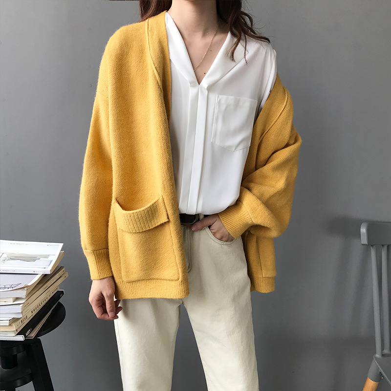 2018 Qualtiy Thick Knitted Cardigans Coats Women Batwing Sleeve Autumn Loose Open Stitch Sweater High Street