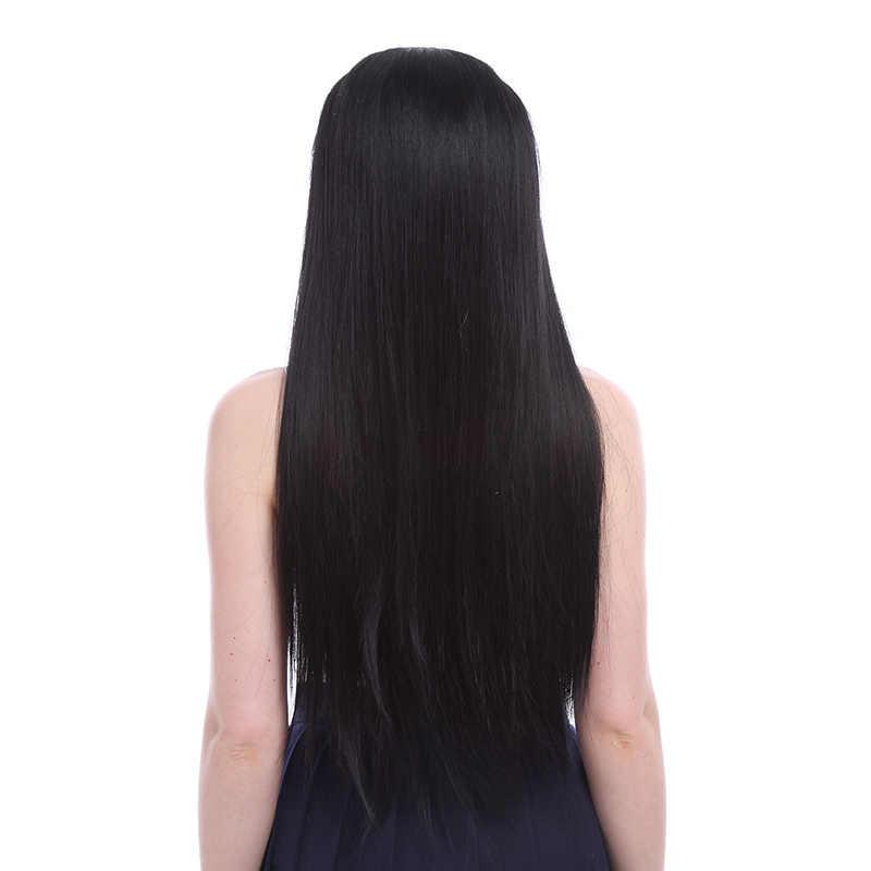 L-email Peluca de encaje negro largo pelucas delanteras 22 pulgadas sintético de encaje peluca delantera mujeres pelo resistente al calor sintético pelo Perucas
