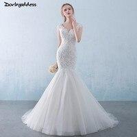 Amazing Luxury Lace Mermaid Wedding Dress 2018 Sexy V Neck Backless Plus Size Mermaid Wedding Dresses Custom Size Casamento